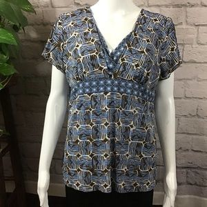 🍃Axcess blue & brown boho V-neck short sleeve top